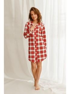 Женская ночная рубашка в клетку с длинным рукавом