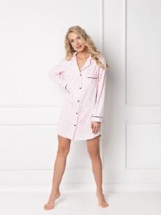 Короткая розовая ночная рубашка на пуговицах