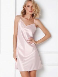 Светло-розовая атласная женская сорочка на тонких бретелях