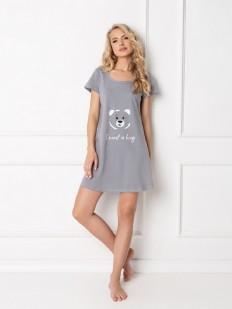 Хлопковая серая ночная сорочка свободного кроя с мишкой