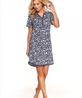 Женская ночная сорочка с цветочным рисунком и короткими рукавами