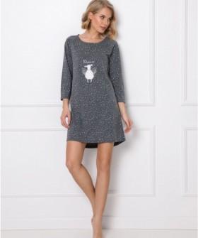 Расклешенная ночная сорочка серого цвета с рукавом 3/4 и принтом овечка