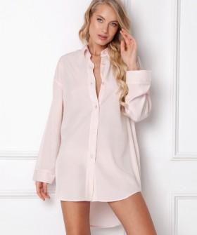 Розовая ночная рубашка из легкой вискозы с асимметричным подолом