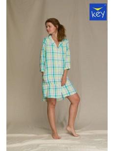 Женская домашняя рубашка в клетку мятного цвета