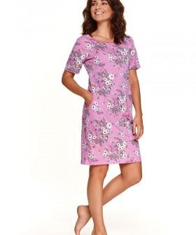 Женская ночная сорочка с карманами и цветочным принтом
