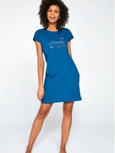 Хлопковая ночная сорочка синего цвета с принтом стрекозы
