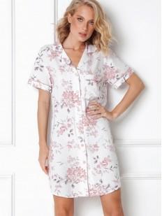Цветочная ночная рубашка на пуговицах с коротким рукавом