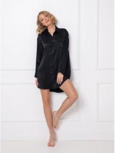 Атласная ночная рубашка из вискозы черного цвета