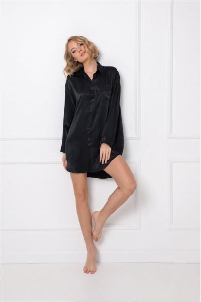 Атласная ночная рубашка черного цвета Aruelle DOMINIQUE - фото 1