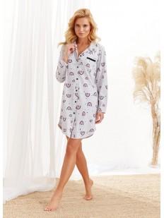 Женская ночная рубашка с принтом и длинным рукавом