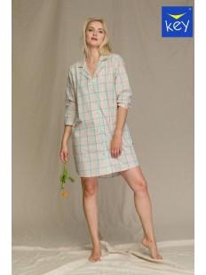 Женская домашняя рубашка из хлопка в клетку бежевого цвета