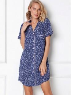 Синяя женская ночная сорочка на пуговицах с коротким рукавом