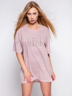 Короткая женская сорочка-футболка из хлопка пудрового цвета
