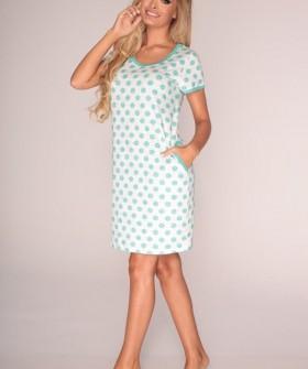 Женская ночная сорочка в горошек с коротким рукавом
