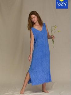 Длинное летнее платье из вискозы с боковыми разрезами по подолу