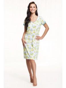 Хлопковая женская сорочка с принтом и коротким рукавом