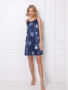 Короткая атласная ночная сорочка синего цвета с цветочным принтом
