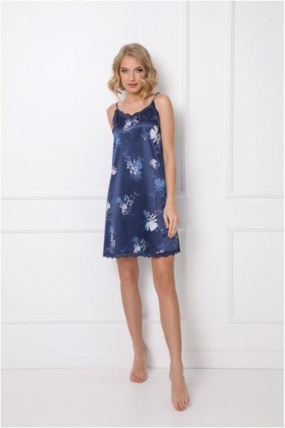 Атласная ночная сорочка синего цвета Aruelle WHILEY - фото 1