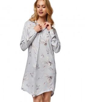 Женская ночная сорочка из вискозы с принтом журавлей