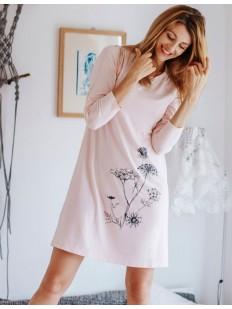 Женская трикотажная сорочка из нежной вискозы с цветочной графикой