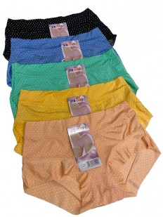 Комплект цветных женских трусиков шортиков (12 шт) с рисунком в горошек