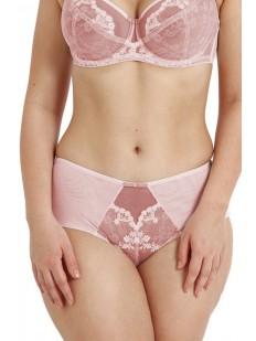 Высокие розовые трусики слип на сеточке с нежной цветочной вышивкой