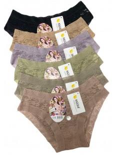 Набор женских кружевных трусов слип (12 шт) в различных цветах