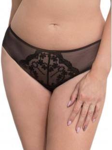 Женские черные трусики слип из тюлевой сеточки с вышивкой