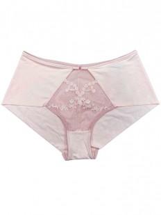 Женские трусы бразильяно светло-розовые с широким боком и кружевом