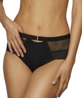 Спортивные женские трусы слипы с завышенной талией и вставками из сетки