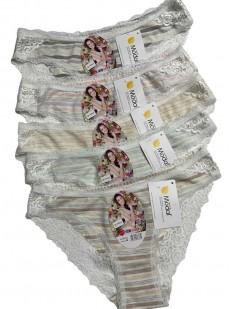 Комплект женских трусов в полоску с кружевным декором (12 шт)