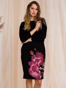 Черное трикотажное платье для дома с цветочным рисунком