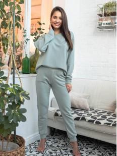 Хлопковый женский костюм для дома: брюки и кофта с длинным рукавом