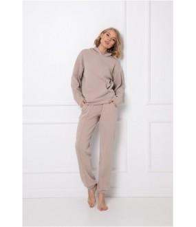 Теплый домашний женский комплект бежевого цвета: брюки и толстовка с капюшоном