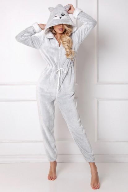 Уютный домашний женский комбинезон с ушками лисички Aruelle TRIXIE - фото 1