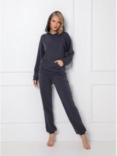 Трикотажный домашний комплект серого цвета: брюки и толстовка с капюшоном
