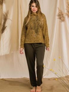Теплый женский домашний костюм: штаны и кофта с капюшоном