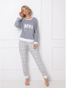 Теплая женская пижама серого цвета: брюки и кофта с принтом мишек