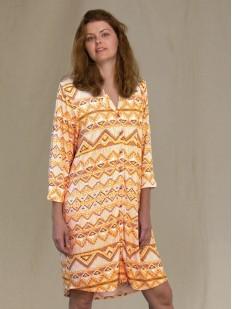 Яркое платье рубашка на пуговицах с геометрическим принтом