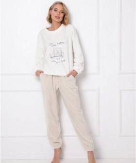 Уютный трикотажный женский комплект для дома: брюки и кофта с совой