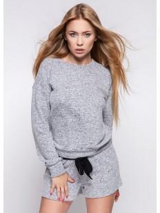 Домашний женский трикотажный комплект с шортами и кофтой серого цвета