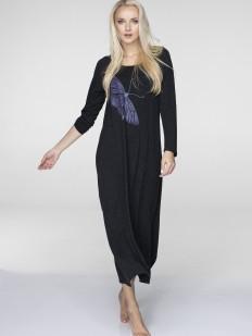 Длинное домашнее платье из вискозы с принтом бабочка