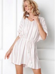 Короткое летнее платье туника из вискозы в полоску