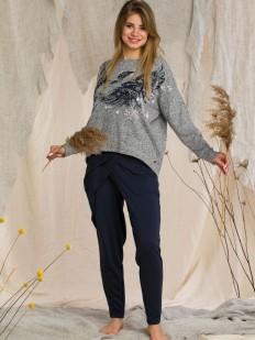 Теплый женский костюм для дома: свитер и зауженные штаны