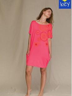Розовая туника с коротким рукавом и карманами