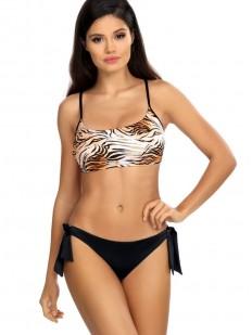 Раздельный купальник с тигровым топом и трусиками на завязках