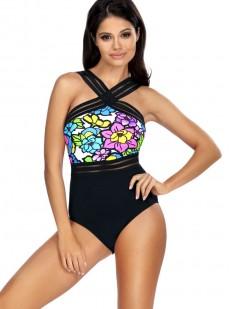 Слитный черный купальник с ярким цветочным рисунком