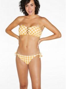 Желтый раздельный купальник бандо с трусиками бикини на завязках