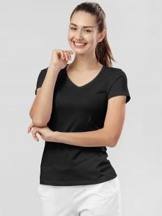 Хлопковая черная женская футболка с v-вырезом