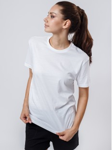 Домашняя женская футболка свободного кроя с круглым вырезом